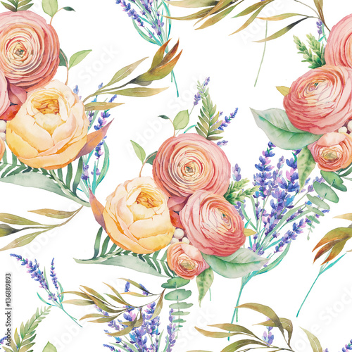Fototapeta Watercolor flowers seamless pattern. Hand painted botanical wallpaper with lavender, eucalyptus leaves, ranunculus flowers, rose, fern branches on white background. Floral texture design