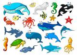 Marine animal isolated cartoon icon set
