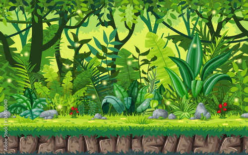 Fototapeta Seamless cartoon nature background. Vector illustration with separate layers.