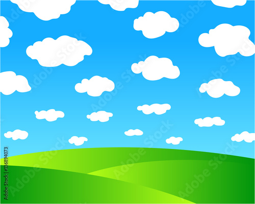 Fotobehang Boerderij Farm natural summer background, picture green fields, blue sky with white clouds