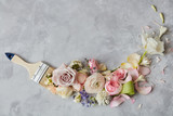 flowers and paint brush - 136896899