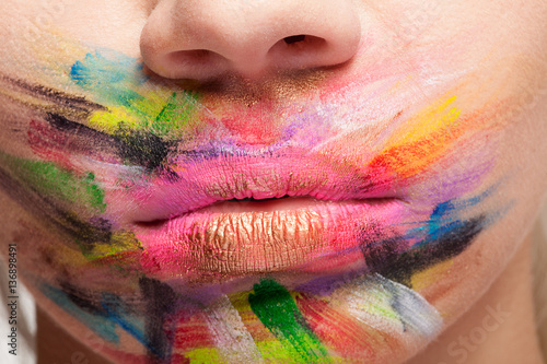 Painted colors on lips and mouth Poster