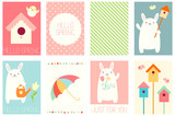 Set of springtime banners with cute rabbit