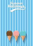 Vector abstract vintage ice cream, flat design background