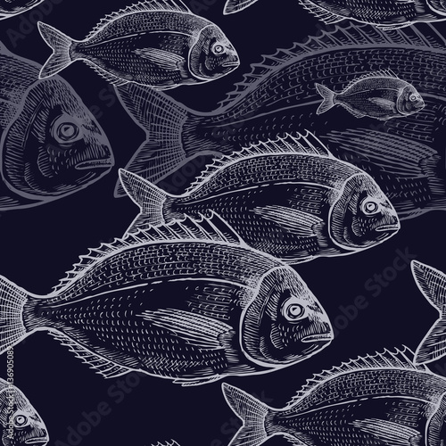 Vintage seamless pattern with fish. - 136905089