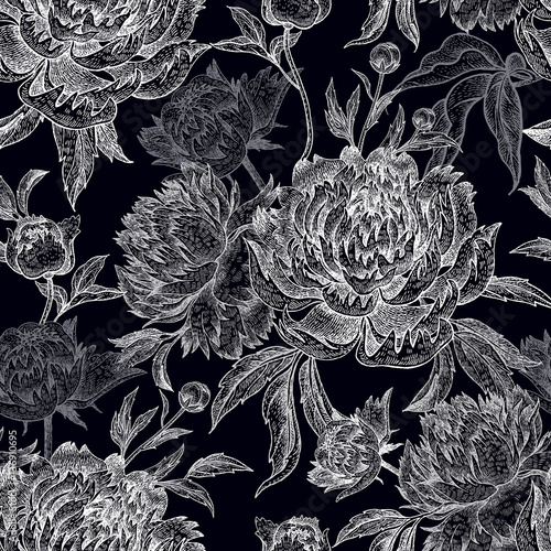 Garden flowers peonies seamless pattern. - 136910695