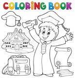 Coloring book graduation theme 1