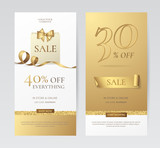 Set of elegant vertical banners with paper shopping bag, golden bow and ribbon. Vector templates for promotion design on the website with gold and white background. Isolated from the background.