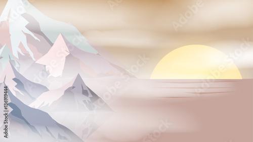 Minimal Abstract Cliffs Near Sea Sunset Scene - Vector Illustrat - 136919444