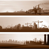 Vector Industrial Backgrounds and Urban Landscapes - 136919841