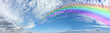 Vast Rainbow Panorama on Mackerel Blue Sky Cloudscape - Wide blue sky banner with a pretty mackerel cloud formation and a huge rainbow spanning from right to left disappearing into the distance
