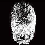 White fingerprint shape on black background for secure identification. Vector illustration