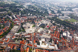 Aerial view of Nitra, Slovakia. Nitra theatre with square and city on the background - 136927229