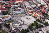 Aerial view of Nitra, Slovakia. Nitra theatre with square and city on the background - 136927405
