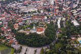 Aerial view of Nitra, Slovakia. Nitra castle in the foreground with city on the background - 136927688