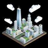 iso city block clouds