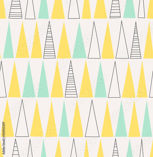 fototapeta na ścianę seamless hand drawn pattern with triangles