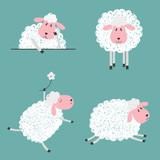 Set of doodle cute sheep for kids design. Vector illustration.  - 136945043