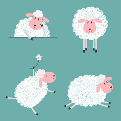 Set of doodle cute sheep for kids design. Vector illustration.