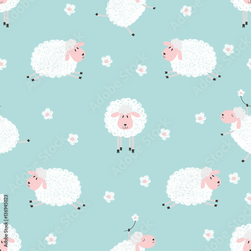 Cotton fabric Seamless pattern with cute sheep on blue. Vector background for kids.