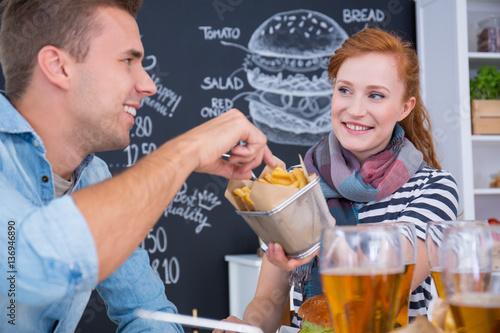 Poster Sharing junk food
