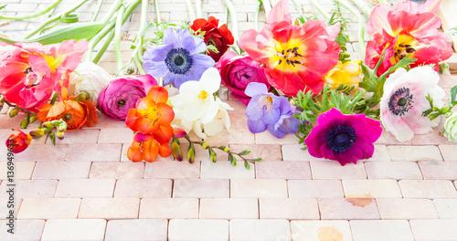 Leinwanddruck Bild Bunte Fruehlingsblumen auf Stein