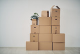 Stack of moving boxes in new house - 136956689
