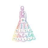 Fashion girl in wedding dress.