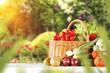 vegetables and fruits on wooden desk  - 136958883
