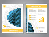 Vector modern brochure, abstract flyer with background of buildings. Layout template. Aspect Ratio for A4 size. Poster of blue, yellow, grey, black and white color. Magazine cover.