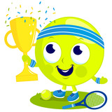 Tennis ball character champion cheering and holding the trophy.