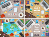 Traveller items on a wooden desk. Travel and Tourism. Vector