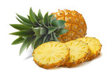 Horizontal pineapple and round slices isolated on white backgrou