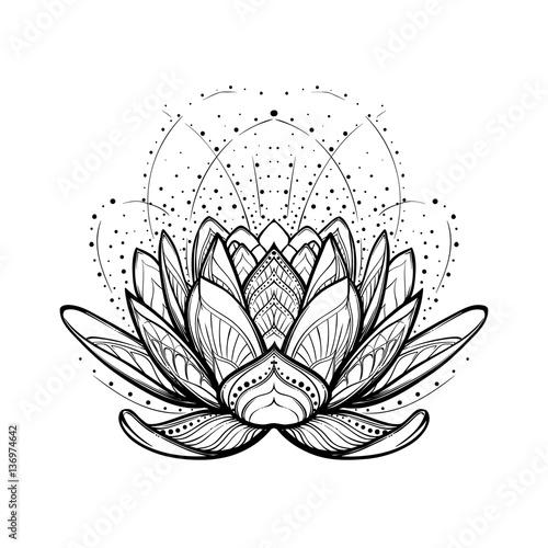 Lotus flower intricate stylized linear drawing isolated on white lotus flower intricate stylized linear drawing isolated on white background concept art for hindu mightylinksfo