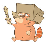 Illustration of a Cute Cat and a Wooden Sword. Cartoon Character