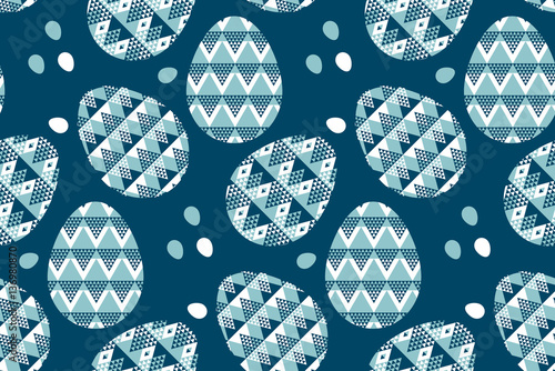 Materiał do szycia tribal geometry blue easter egg decoration seamless pattern. vec