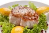 Fish dish - fried tuna steak and vegetables