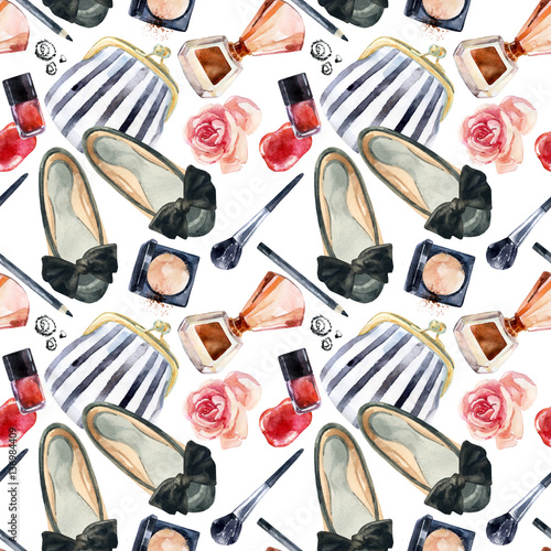 Watercolor womens beauty seamless pattern. - 136984409