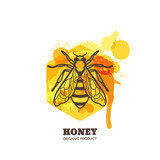 Honey label, emblem, tag design elements. Vector hand drawn outline honeybee on watercolor honeycombs. Bee and liquid honey isolated on white background. Concept for organic farming products package.