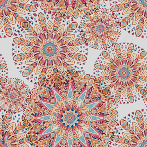 Watercolor ethnic ornate feathers abstract mandala seamless pattern. - 136986016