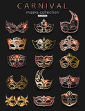 Set of Carnival masks. Rose gold trend color for design, vector illustration.