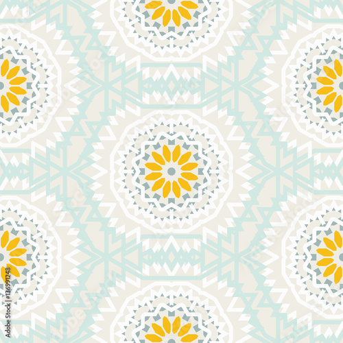 Bohemian pattern with big abstract flowers - 136991248
