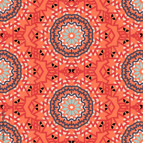 Cotton fabric Bohemian pattern with big abstract flowers