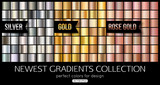 Set of rose gold, silver gradients. Shiny gold texture, vector illustration. - 136992042