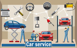 Car service tools concept, cartoon style