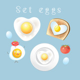 Graphic set of different tasty scrambled eggs