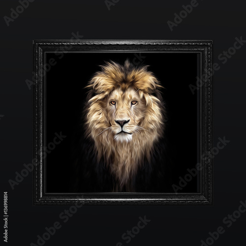 Poster Portrait of a Beautiful lion, lion in the dark, oil paints, soft