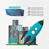 rocket transport space with city background vector illustration eps 10