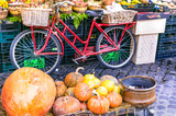 Local Fruit market with old bike and pumpkins in Campo di fiori, Rome