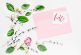 calligraphy floral pattern top view hello